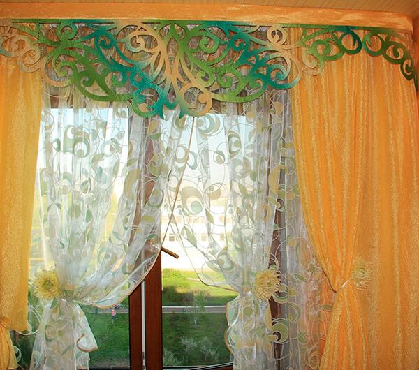 Пошив штор с фигурными ламбрекенами