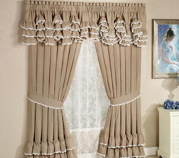 Пошив штор с рюшами