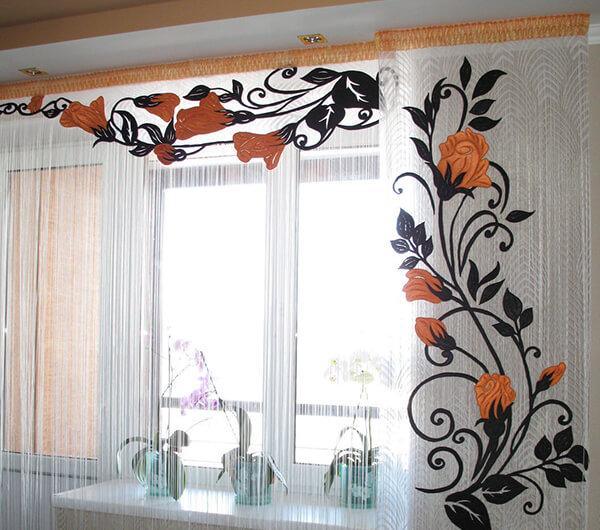 Пошив штор с вышивкой