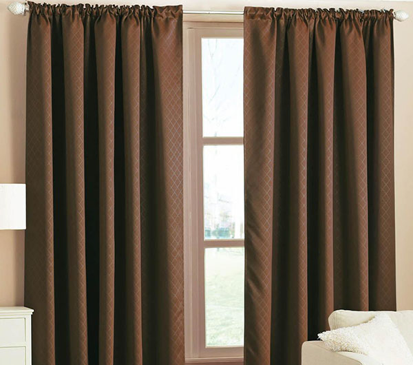 Пошив штор коричневого цвета