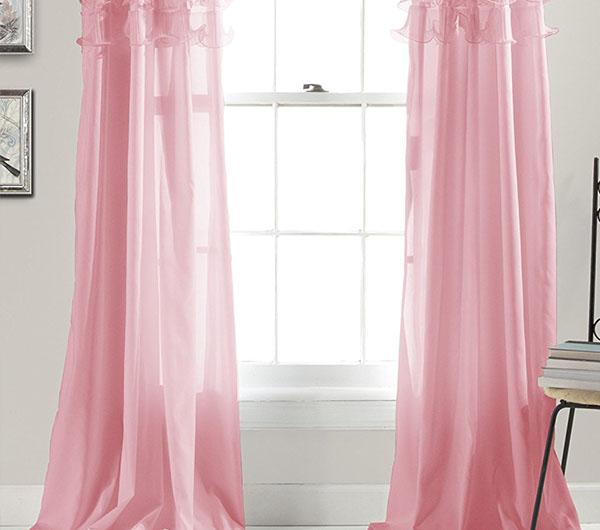 Пошив штор розового цвета